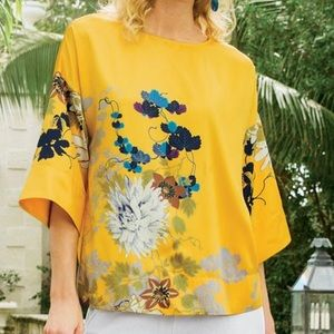 Soft Surroundings Tahitian Tunic Gold Floral Top